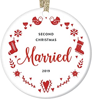 Second Wedding Anniversary 2019 Collectible Ceramic Christmas Ornament 2 Years Happily Married Keepsake Gift Mr & Mrs Husband Wife Couple Partners Dated Hanging Tree Decoration 3