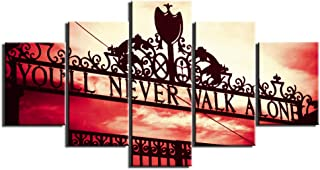Canvas Art Wall Decor LFC Liverpool Football Club - You'll Never Walk Alone Picture Poster Framed Artwork 5 Piece Wall Art Room Decoration Ready to Hang(60''Wx32''H)