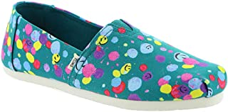 TOMS Kids Alpargata (Little Kid/Big Kid) Deep Lake Happy Dot Print 4.5 Big Kid M