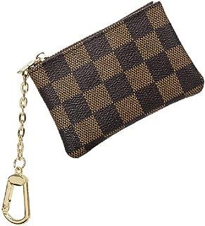 WYYX Luxury Checkered Vegan Leather Zipper Mini-zero Purse,Zipper Mini Coin Wallet, Key Chain Pouch,For Men & Women.