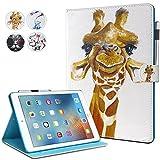 New iPad 9.7 Inch 2017 2018 Case, iPad Air 2, iPad Air Case, MonsDirect Flip PU Leather Case Kickstand Smart Wake Sleep Protective Cover for iPad 9.7 Inch 2017 2018, iPad Air 1 2, Giraffe