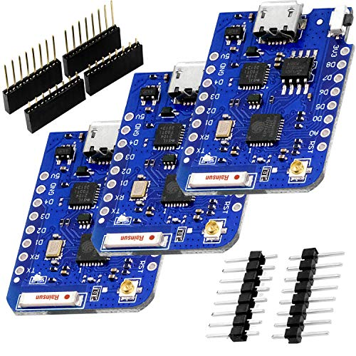 AZDelivery 3 x D1 Mini Pro 4MB ESP8266 ESP-8266EX CP2104 WiFi External Antenna Connector Micro USB Serial Converter IoT Development Board PWM/12C/1-Wire Compatible with Arduino including E-Book!