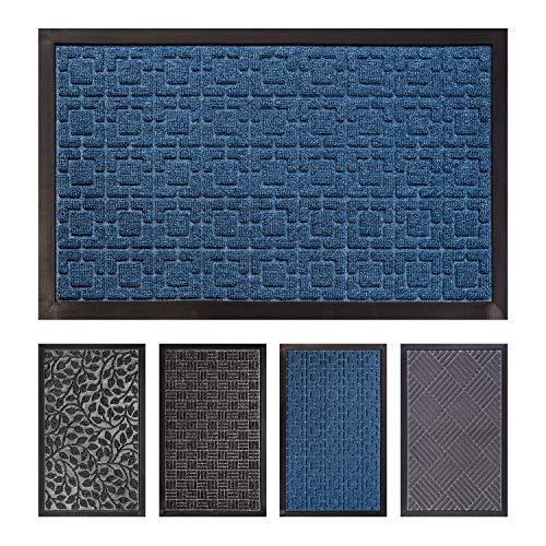 FCSDETAIL Alfombrilla para Puerta Interior y Exterior, Felpudo de Entrada Antideslizante de Fácil Limpieza con Respaldo de Goma para Puerta Delantera, Piso Interior (40x60 cm, Laberinto Azul)
