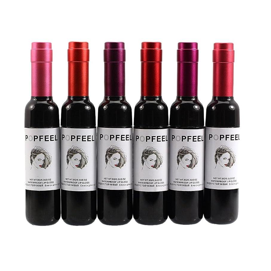 わかる国籍ニュースBlesiya 6本/セット 液体リップ 液体口紅 リップグロス ワインのボトル 可愛い  防水 旅行用 高持ち力