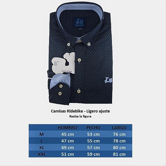 Ridebike Camisa Azul Marino con topitos Blancos Vespa   Slim fit   Diseño del puño a Juego con el Cuello