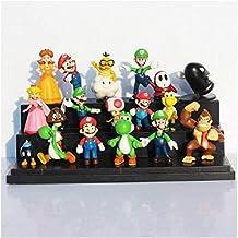 honeyya 18 Pieces/Lot Super Mario Bros Yoshi Dinosaur Peach Toad Goomba PVC Action Figures Toys
