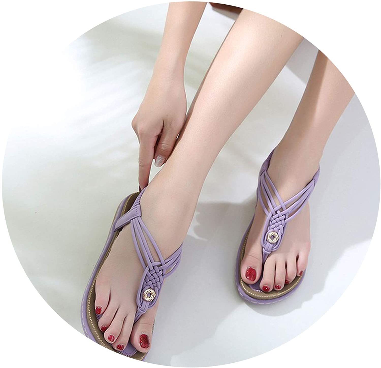 colorful-space Summer Women Flat Sandals shoes Woman Gladiator shoes Female Casual Sweet Retro Weave Flip Flop Beach Sandals 35-42