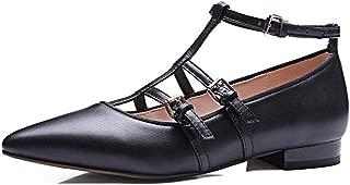 Nine Seven Women's Leather PointToe Tstrap Flats