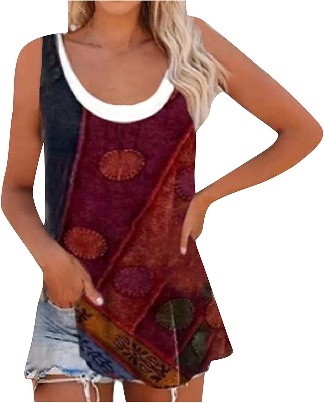 iQKA Women Summer Casual Tank Tops Solid Color Sleeveless O Neck Flowy Tunic Shirt Holiday Beach Vest