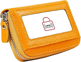 Dlife Genuine Cowhide Leather Mini Credit Card Case Organizer Compact Wallet with ID Window (Yellow)