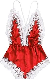 007XIXI Sleepwear for Women Cheap,Fashion Sissy Women Sexy Lingerie Girl V-Neck Lace Splice Bodysuit Sleepwear