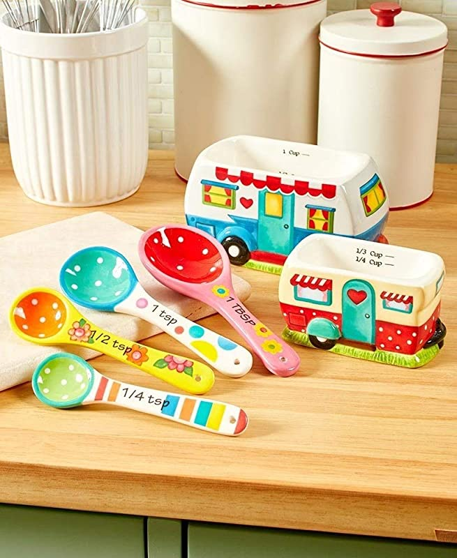 Retro Happy Camper 6 Piece Measuring Set 2 Cups 4 Spoons