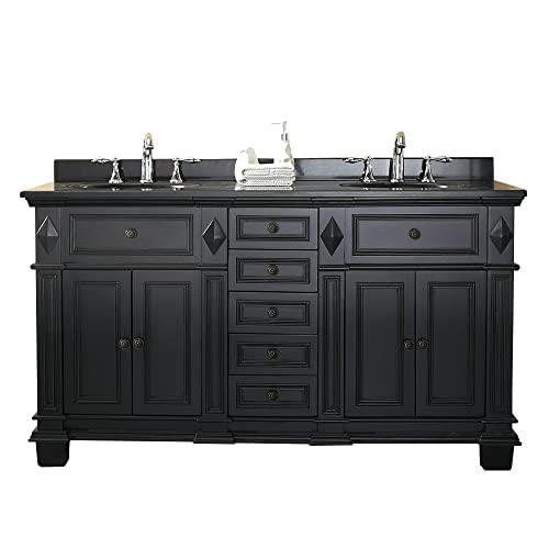 Ove Decors Essex 60 Vanity In Antique Black with Black Granite Vanity Top &  White Basin - Black Antique Double Vanities: Amazon.com
