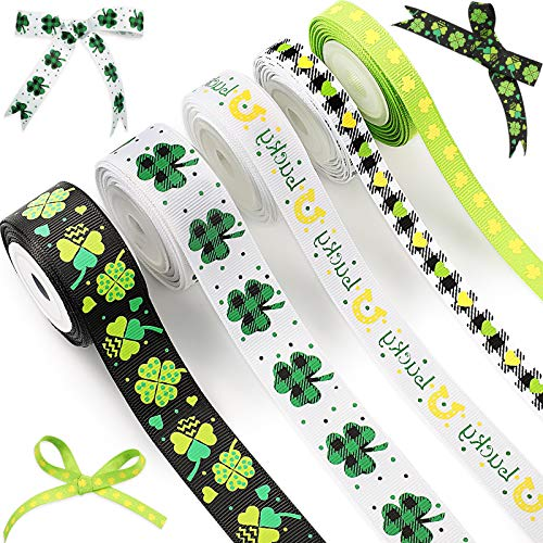5 Rolls St. Patrick's Day Themed Ribbon Irish Day Shamrocks Grosgrain Ribbon Clover Polyester Ribbon for Wrapping Party Decoration, Crafting and Sewing, 3 Widths, 5 Yards Long/Roll