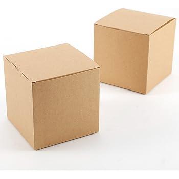 Set de 50 Cajas para dulces bombones Caja kraft de boda regalo Rútico 10x10x10cm Cajita de cuadro Grande Kraft Paper: Amazon.es: Hogar