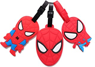 Set of 3 - Super Cute Kawaii Cartoon Silicone Travel Luggage ID Tag for Bags (Spiderman 2)