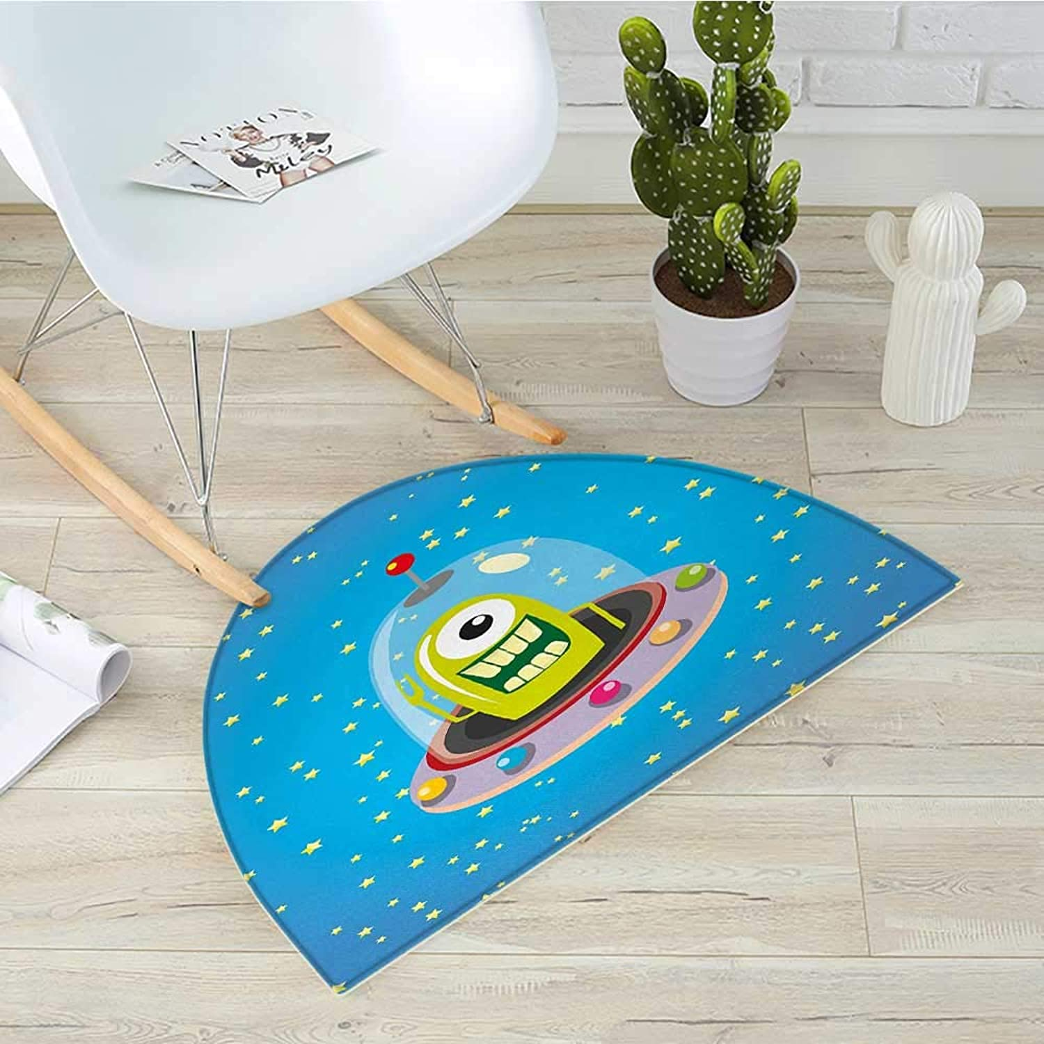 Kids Half Round Door mats Cute Comic UFO Alien in Outer Space with Stars Galaxy Journey Caricature Cartoon Print Bathroom Mat H 39.3  xD 59  Multicolor