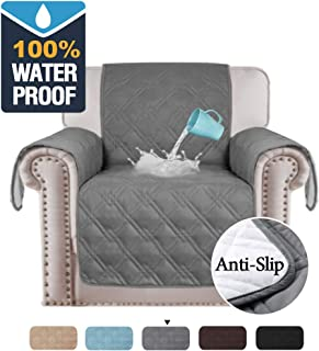 H.VERSAILTEX 100% Waterproof Chair Cover for Dogs Original Slip Resistant Chair Slipcover Quilted Furniture Protector Chair Covers for Living Room Premium Cotton Like Sofa Chair Covers (Chair: Gray)