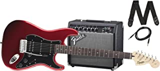 Squier by Fender Stratocaster Beginner Electric Guitar Pack with Frontman 15G Amplifier - Candy Apple Red Finish - HSS