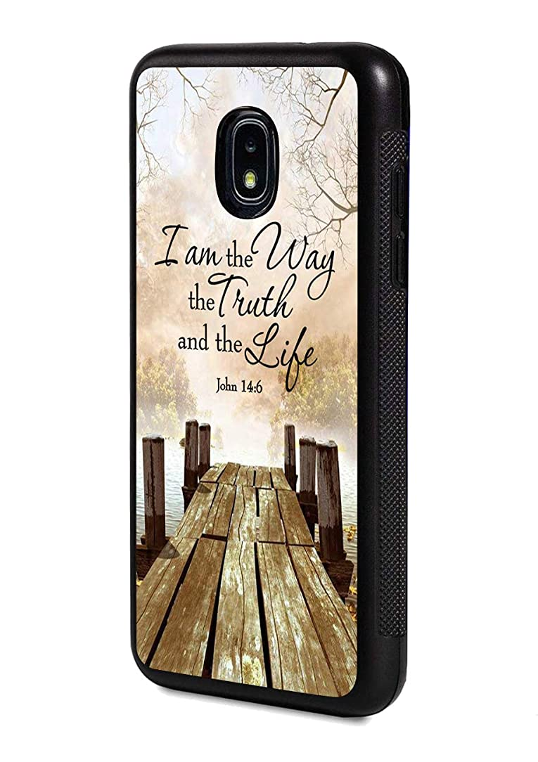 Galaxy J3 (2018) Case,Wooden Walkway Quotes Bible Verse John 14:6 Design Slim Impact Resistant Rubber Protective Case Cover for Samsung Galaxy J3 (2018)