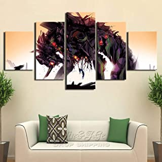 YI KUI Canvas Prints 5-Panel Mural Evangelion Images Prints on Canvas Artwork Poster for Home Decoration Modern, B, 30 × 40 × 2 + 30 × 60 × 2 + 30 × 80 × 1