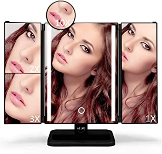 WELife LED Makeup Mirror with 2X,3X,10X Magnifying,180°Adjustable Rotation,Touch Screen Control brightness, Portable Compa...