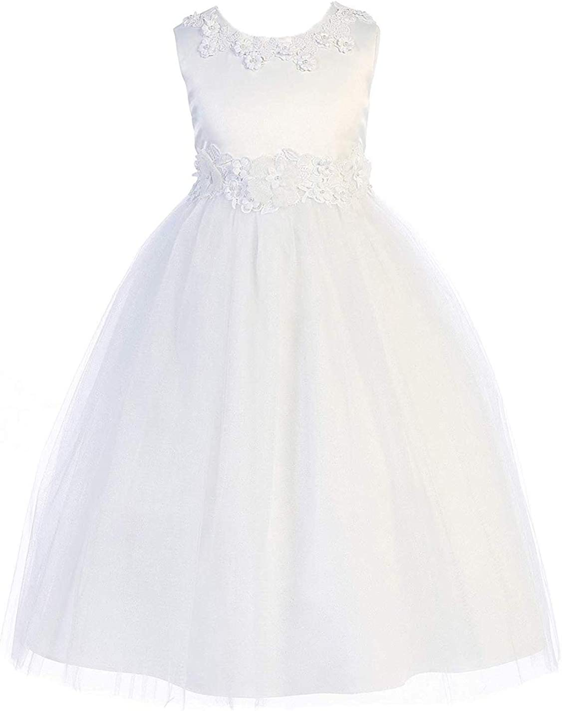 Girls' White First Communion Pageant Flower Girl Venetian Lace Illusion Dress Made in USA