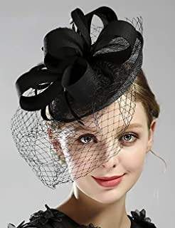 Chargances Bride Black Weeding Veil Fascinator English Hat Birdcage Veil with Clip Ascot Race Hat Wedding Tulle Fascinator...