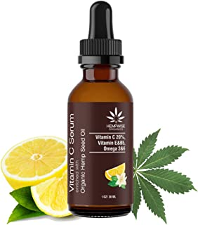 Vitamin C Serum Enriched With Organic Hemp Seed Oil. Naturally Softens, Nourishes, Deep Hydration With Rich Omega Nutrients, 1 Fl Oz