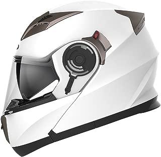 YEMA Helmet Unisex-Adult Motorcycle Racing Modular YM-925 DOT Street Helmet (White, L)