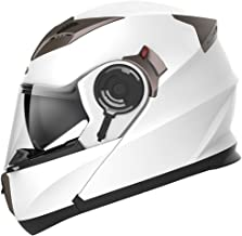 Casco Moto Modular ECE Homologado - YEMA YM-925 Casco de Moto Integral Scooter para Mujer Hombre Adultos con Doble Visera-Blanco-S
