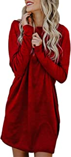 Kidsform Women's Tunic Dress Long Sleeve Oversized Baggy T Shirt Casual Loose Party Short Midi Dresses with Pockets