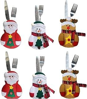 LUOEM 6pcs Christmas Silverware Holders Snowman Reindeer Santa Claus Silverware Holders Pockets