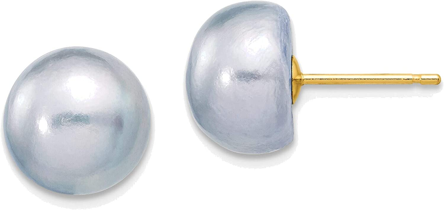 9-10mm Grey Button Freshwater Cultured Pearl Stud Post Earrings in 14K Yellow Gold