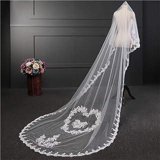 Long Applique Bride Veil Elegant Lace Edge Bidal Veil Chapel Cathedral 3M Length Wedding Accessories Free Comb 0605 yynha ...