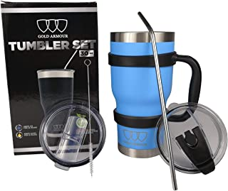 30 oz Tumbler - 6 Piece Stainless Steel Insulated Water & Coffee Cup Tumbler with Straw, 2 Lids, Handle, Straw - 18/8 Double Vacuum Insulated Travel Flask (Sky Blue)