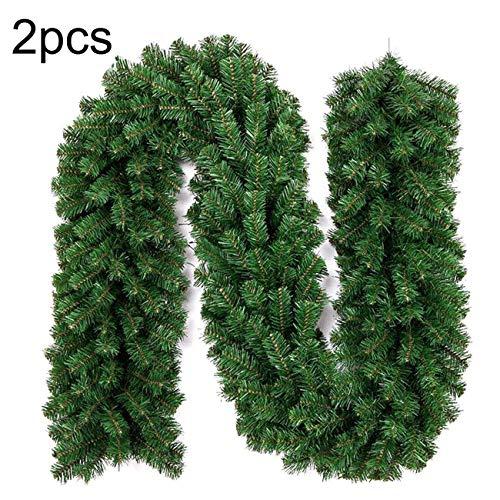 EZSTAX Weihanchtsgirlande Tannengirlande Weihnachten Girlande Dekoration PVC Künstliche Kranz,Grün,2 Stück