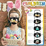 5 Pack Easter Printed Face_Mask with Detachable Eye Shield, Protective Face_Mask with 10 Filters for Kids, Reusable Breathable Cotton Facemasks for Adults Holiday Party Gift