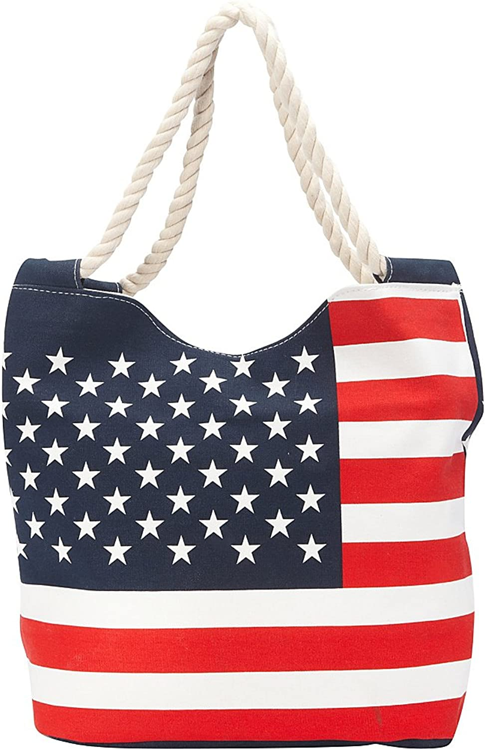 Stars And Stripes Canvas Zippered Tote Bag