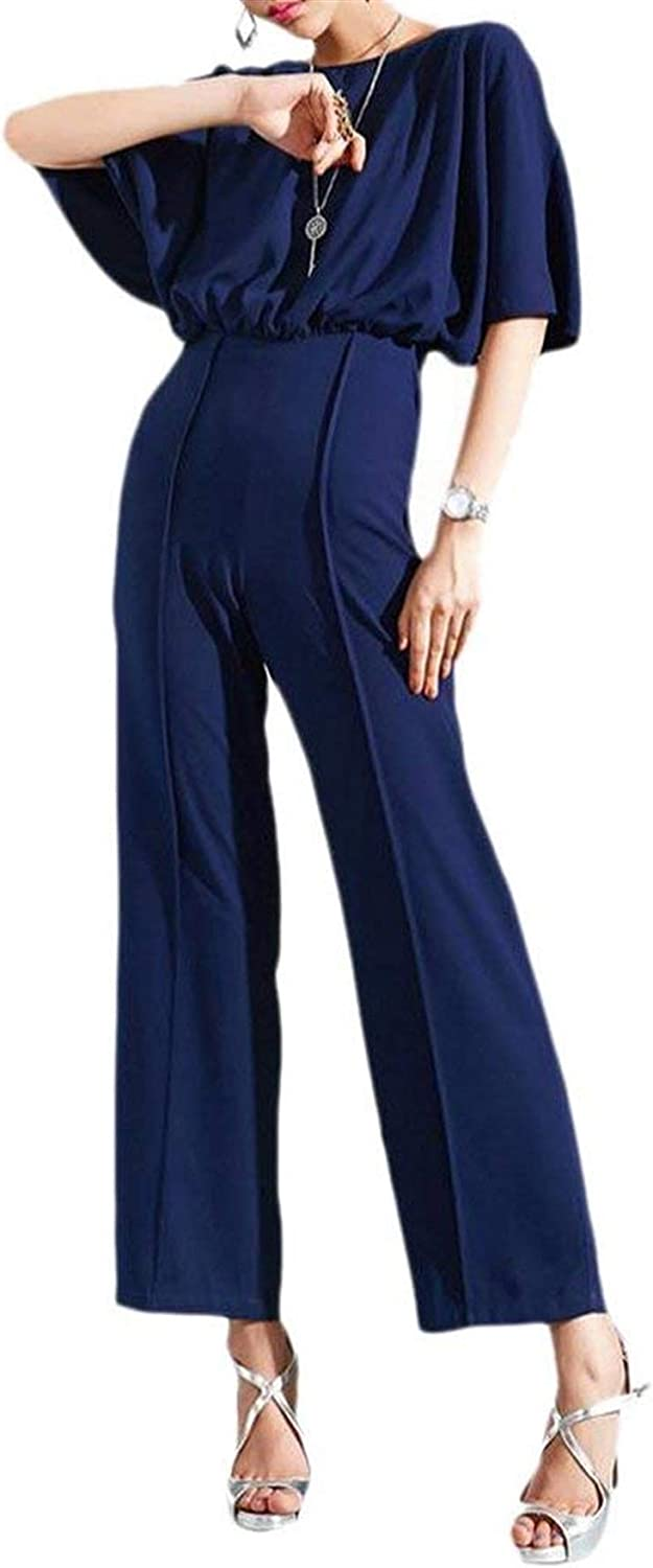 Babaseal Women Sexy batwing Sleeve Hollow Back Jumpsuits Palazzo Pants