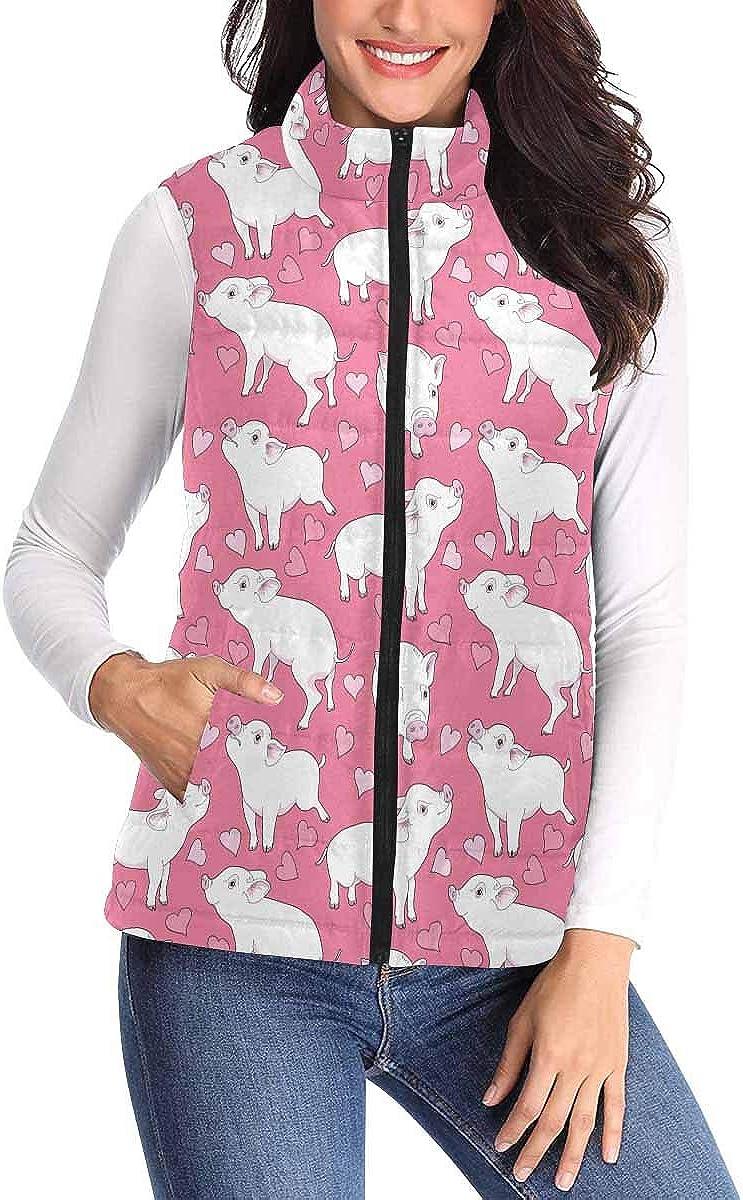 Some reservation InterestPrint Women's Full Zip Vest Sleeveless Sweaters Padded Fresno Mall