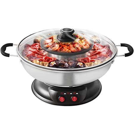 Separate Dual Temperature Contral,2200W 110V Eilsorrn Electric Grill With Hot Pot Capacity for 8 People Family Gatherings. Indoor Teppanyaki Grill//Shabu Shabu Pot with Divider