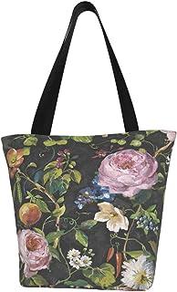 Lesif Einkaufstaschen, Floris Blumentapete, anthrazit, mehrfarbig, Segeltuch, Einkaufstasche, wiederverwendbar, faltbar, Reisetasche, groß und langlebig, robuste Einkaufstaschen