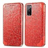 KKEIKO Hülle für Galaxy S20 FE/Galaxy S20 Lite, PU Leder Brieftasche Schutzhülle für Samsung Galaxy S20 FE/Galaxy S20 Lite, Prägung Klapphülle mit Kartenfächer & Stand Funktion - Rot