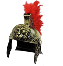 Roman Trojan Warrior Spartan Soldier Plastic Costume Helmet w/Red Feather Crest