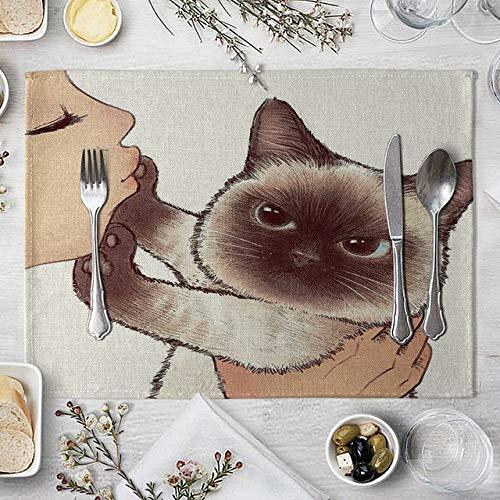 Tischset Katze Leinentischmatte nette Katze Cartoon-Tiermuster-Tischsets for Kinder Kinder Küche Essplatz Matten-Auflagen (Color : 6)