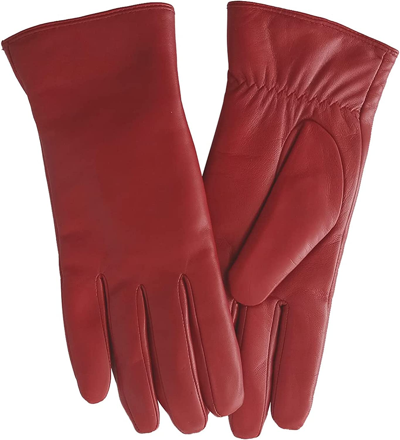 LIBO Winter Soft Leather Gloves for Womens Warm Plush Lining Full-hands Touchscreen Luxury Gloves