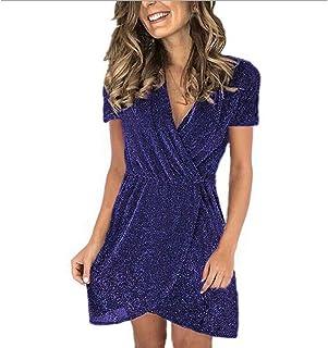 Women's V Neck Wrap Mini Dress ,Ladies Sequin Glitter Short Sleeve Short Dresses with Ruffle Irregular Hem