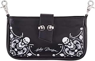 Women's Willie G Skull Bandana Pouch Leather Hip Bag w/Strap