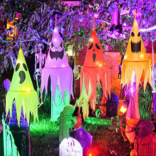 LOVEXIU Navidad y Halloween Decoración Jardín Accesorios 4 PCS,Vispera de Todos los Santos Adornos Colgar,Sombreros de Bruja Brillantes con Luces para Fiesta, Patio,árboles